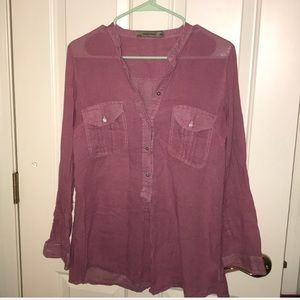 Zara basic light 1/2 button down 100% cotton M